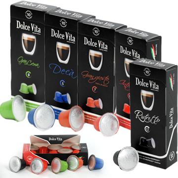 KIT Dégustation  50 café Dolce Vita, compatible Nespresso-10 Ristretto10 Intenso10 Gran Crema10 Gran gusto10 Déca